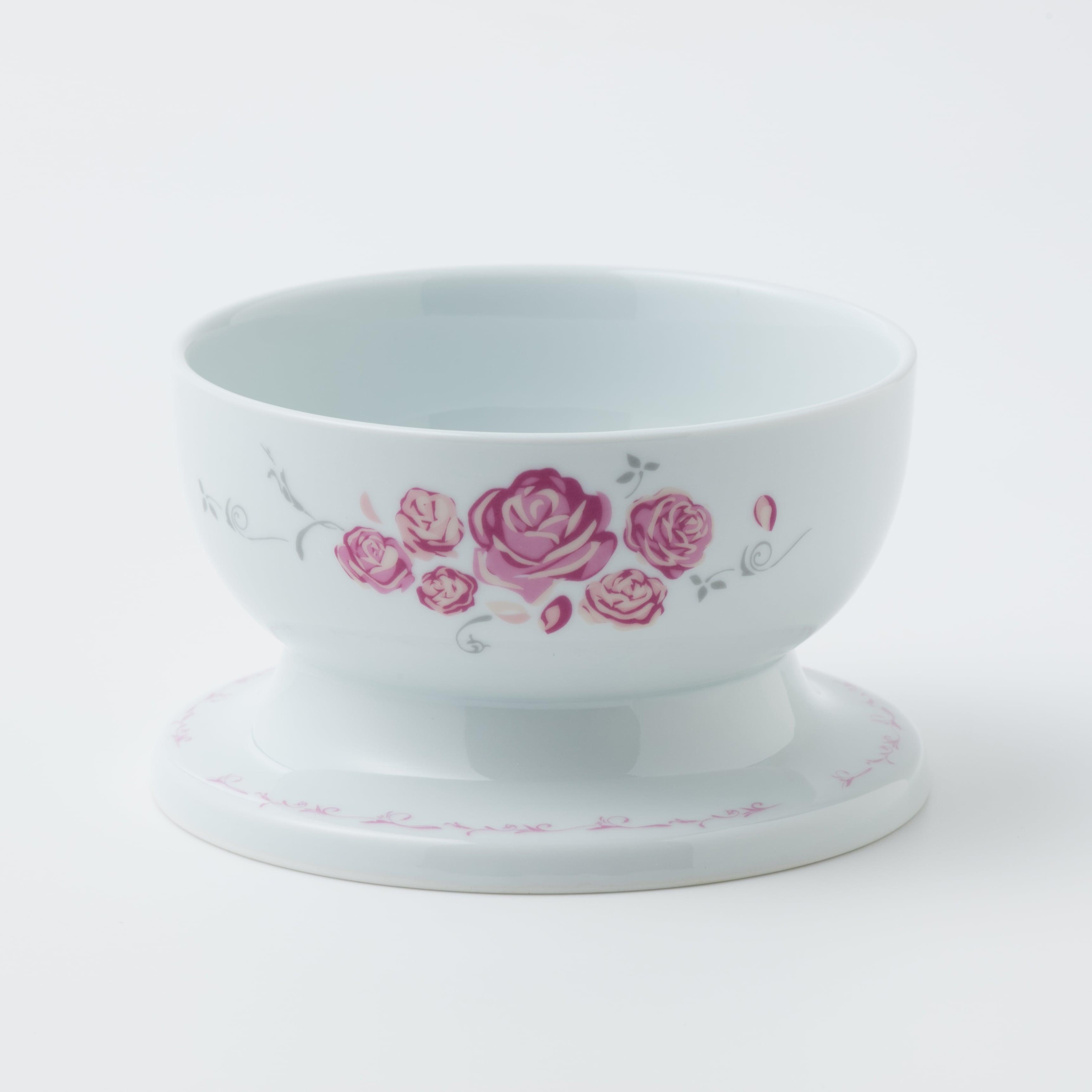 有田焼【ローズ】 ロータイプ(水用) ピンク 製造:江口製陶所