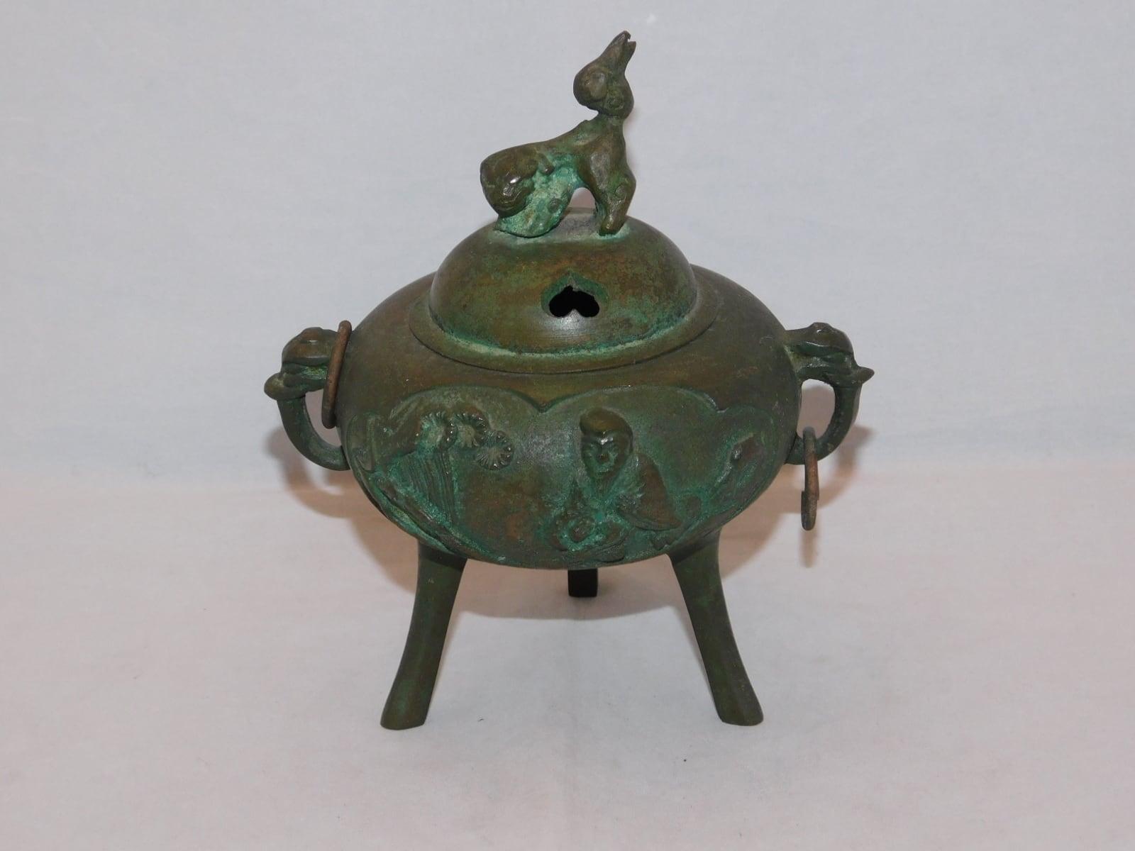 銅香炉 copper and multi-metal incense burner