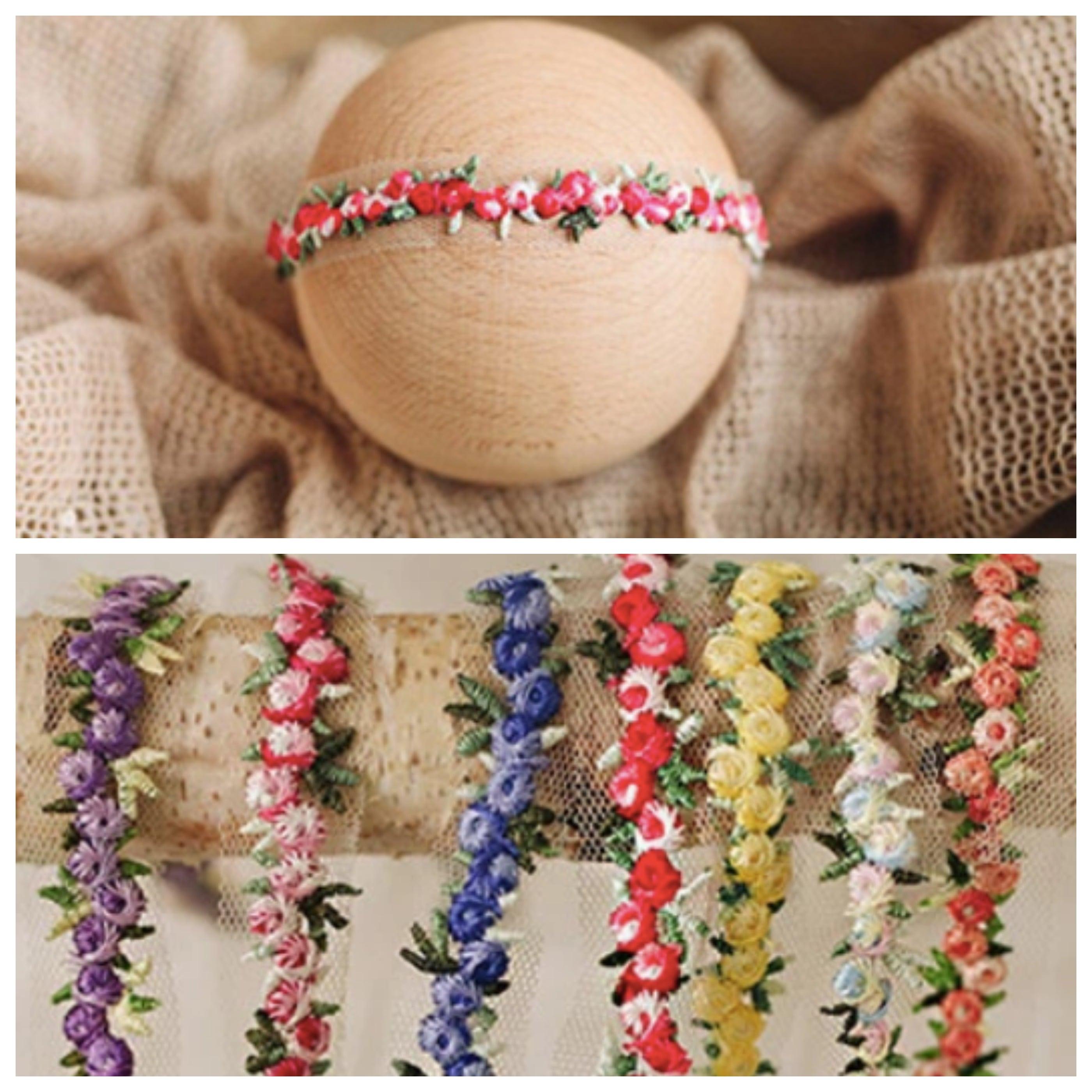 刺繍お花のtieback