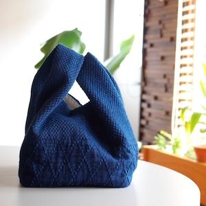 うしじま縫製 | 武州正藍染 手提げバッグ 小 二重刺子
