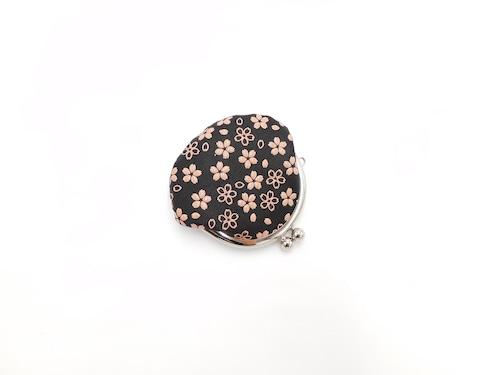 がま口小銭入(平)黒/ピンク 桜柄