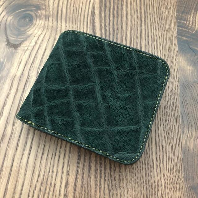 ☆限定販売☆象革&牛革二つ折り財布 ダークグリーン 写真の現品のお届けとなります