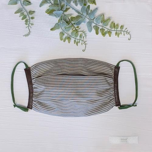 本革レザー付き綿ストライプの姫マスク