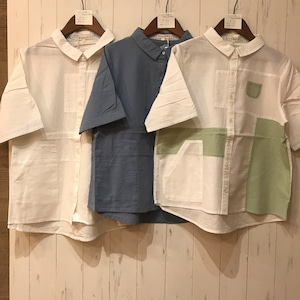 パッチワーク切り替えシャツ
