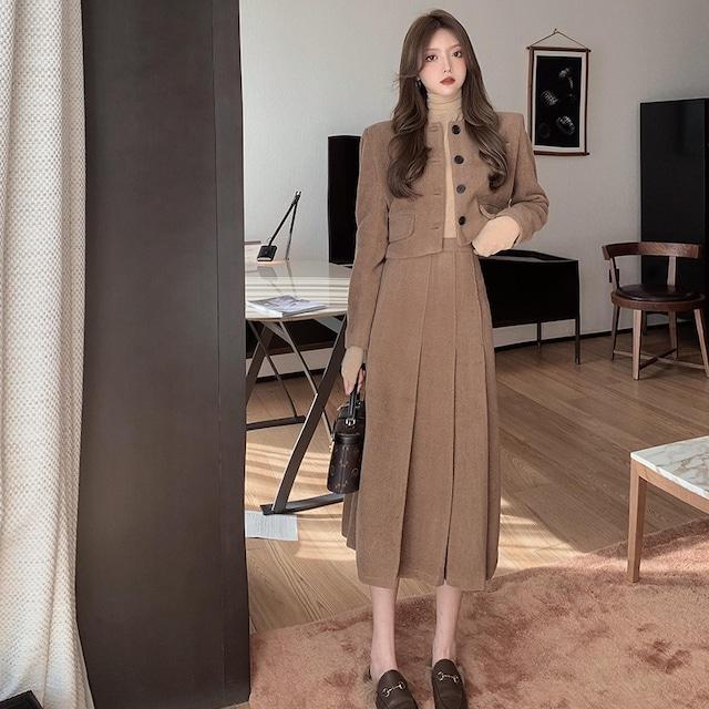 ショートジャケット+プリーツスカートセット S3127