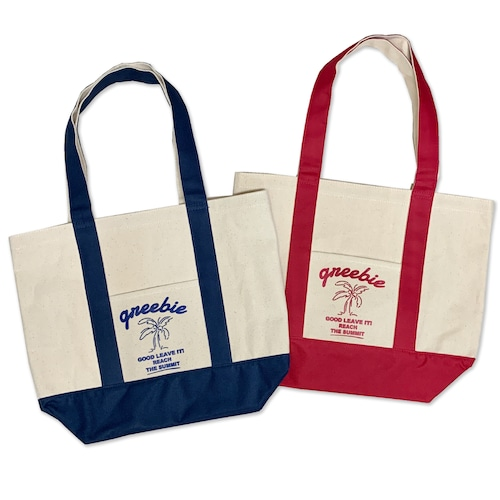 Plam tree Canvas bag【Red / Navy】