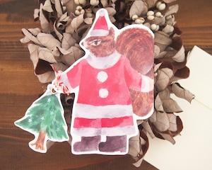 クリスマスカード りすサンタ