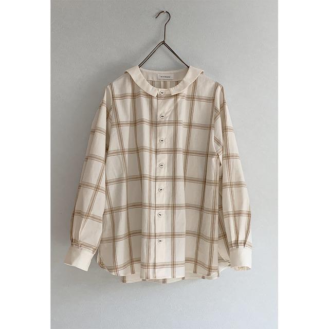 無染色オーガニックコットン セーラーチェックシャツ