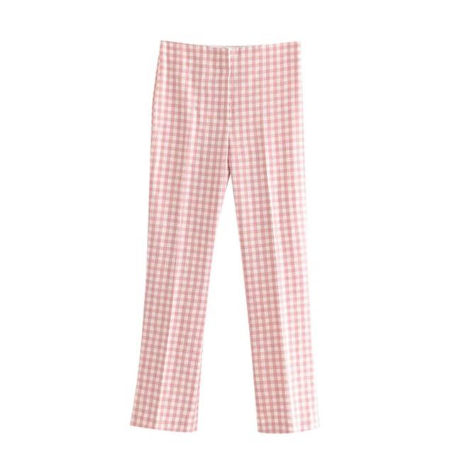 【即納】pink check pants