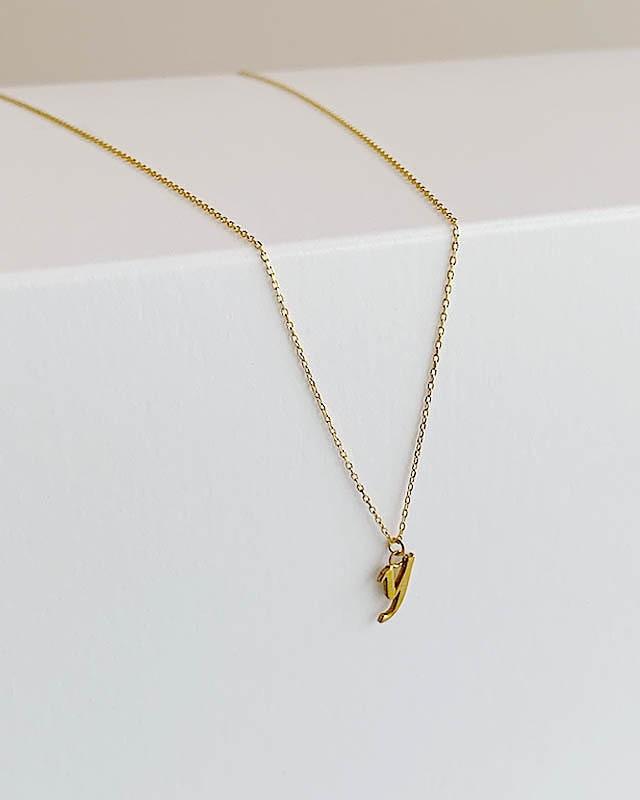"K10  initial  "" y ""  necklace  /  Belleza by n"