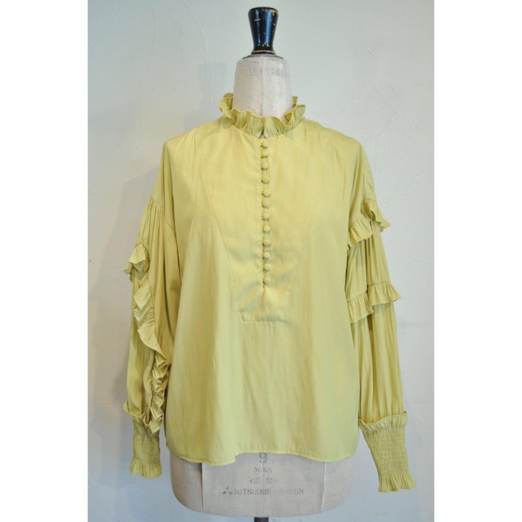 【RehersalL】 frill bijou blouse(yellow) /【リハーズオール】フリルビジューブラウス(イエロー)