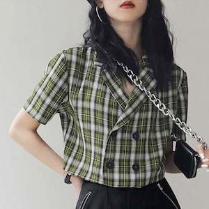ショート丈 チェックジャケット | 半袖 重ね着 夏 秋 韓国服 Kfashion クロップド 半袖ジャケット