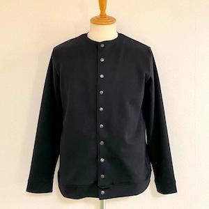 Light Double Knit No Collar Snap Jacket Black