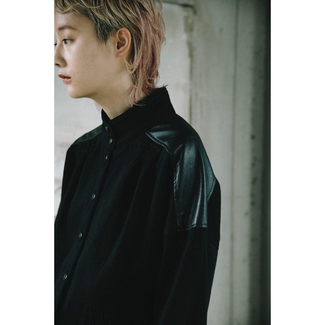 【RehersalL】herringbone blouse(black) /【リハーズオール】ヘリンボーンブラウス(ブラック)