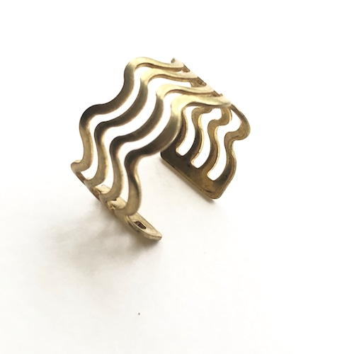 Raw brass Rings -  wavyリング  RG-025