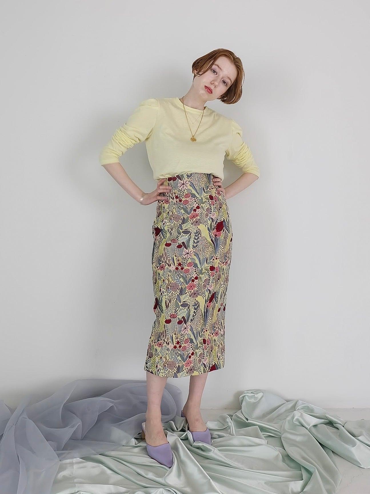 botanical jacquard skirt