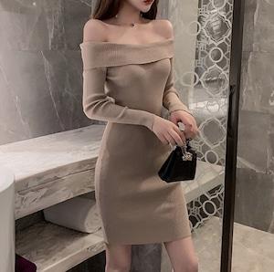 simple off shoulder dress 2color