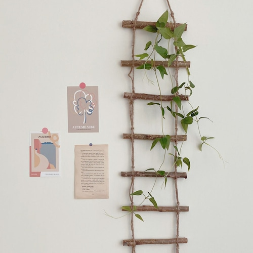 wood hanging ladder / ウッド 壁掛け はしご ポスター 木製 韓国 インテリア 雑貨