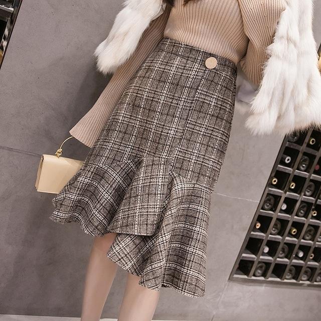 フリルチェックマーメイドスカート*SK2021010i