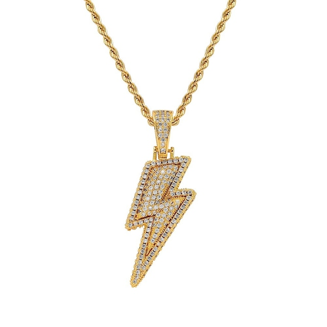 Iced Out Lightning Necklace