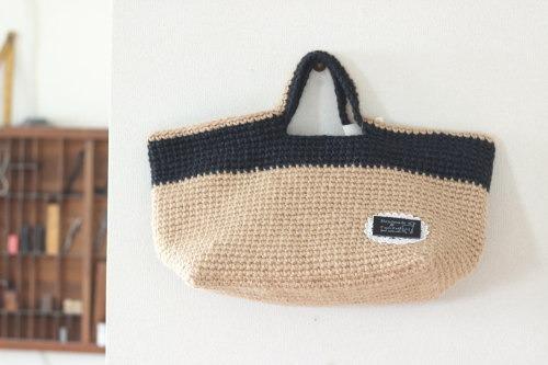 手編みのバッグ*麻 黒/sakura 型番:B-9