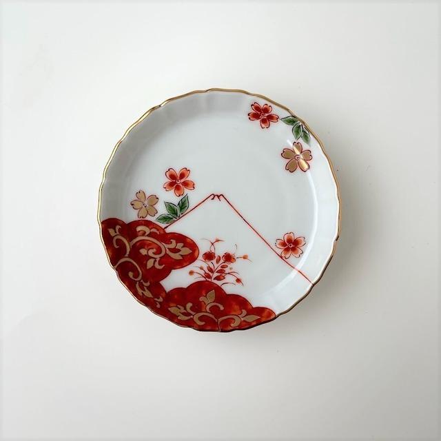 【おてしょ皿】錦桜富士山図 立渕小皿