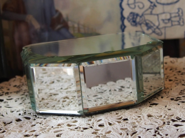 イギリスアンティーク ミラー貼りのジュエリーボックス