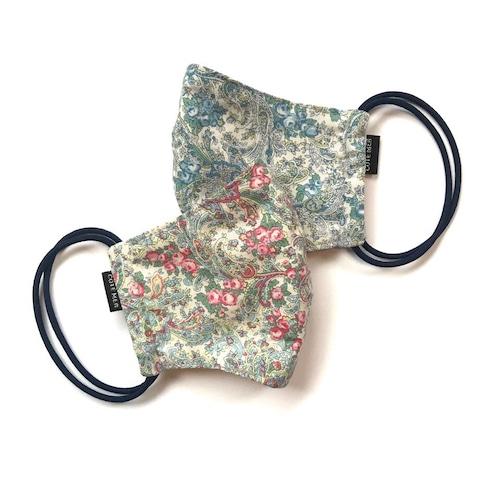 【新作レディース 夏用デザイナーズマスク2枚セット COOLMAX使用 日本製】花柄ペイズリーマスク グリーン色 × ブルー色
