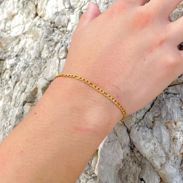 Figaro Chain Bracelet【3mm/GOLD】
