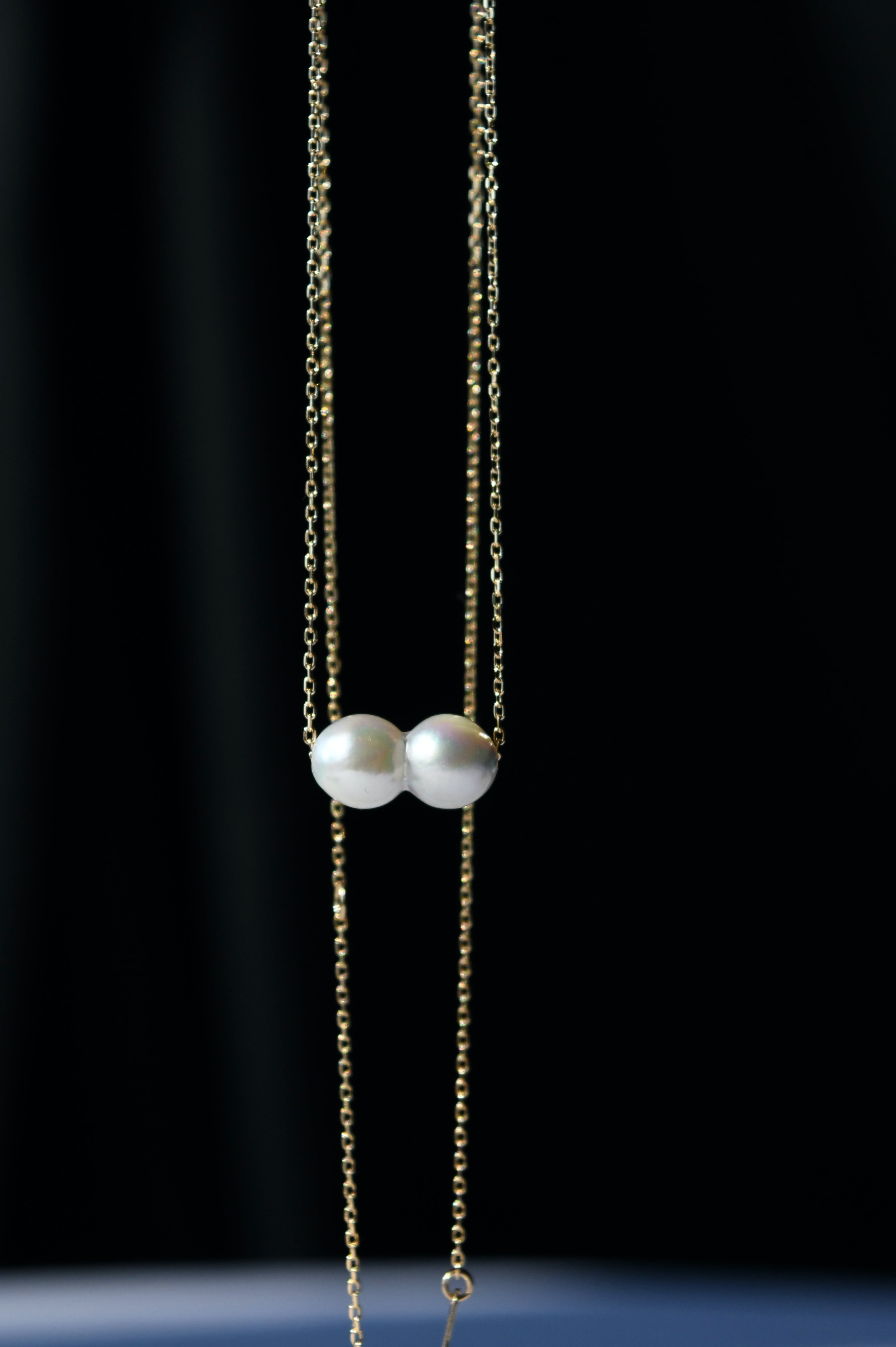 K18YG Akoya Twins Pearl Necklace 18金アコヤ双子真珠ネックレス(ホワイト)