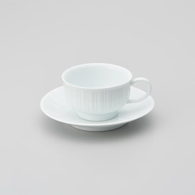【中仙窯】白磁線彫りスープ碗皿(200㏄)(日本工芸会正会員 中尾 純作)