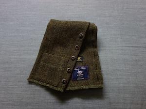 shetlandwooltweed button-muffler / mixolive