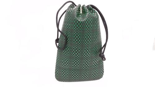 合財袋(小)黒/緑 変わり市松柄