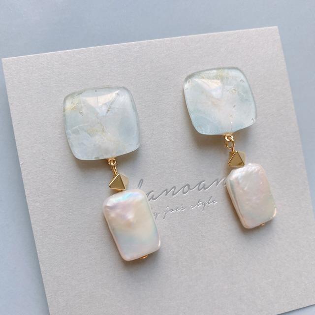 """ Earrings NO.danoan-131″ ストーンペイントとスクエア淡水パール"