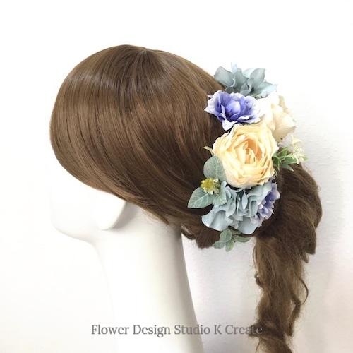 ウェディング・成人式に♡エクリュローズとアッシュブルーの紫陽花のヘッドドレス(14本セット) ブライダル 花嫁ヘア 結婚式 成人式