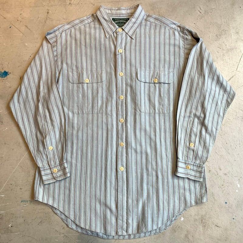 80's 90's POLO COUNTRY ポロカントリー ストライプコットンワークシャツ 織柄 猫目ボタン ライトブルー RRL 美品 LARGE 希少 ヴィンテージ BA-1303 RM1672H