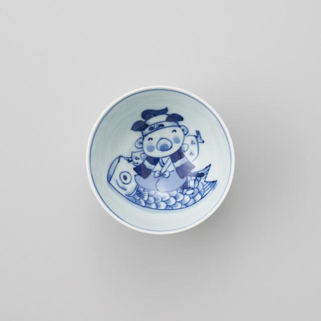 """【青花Kids】""""童話"""" 3.5寸丸飯碗(鯉のぼりと桃太郎)"""
