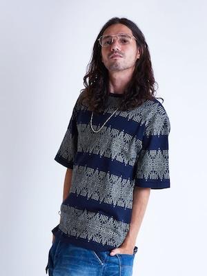 EGO TRIPPING (エゴトリッピング) ARABESQUE JACQUARD TEE アラベスクジャガードTシャツ / NAVY 663807-83