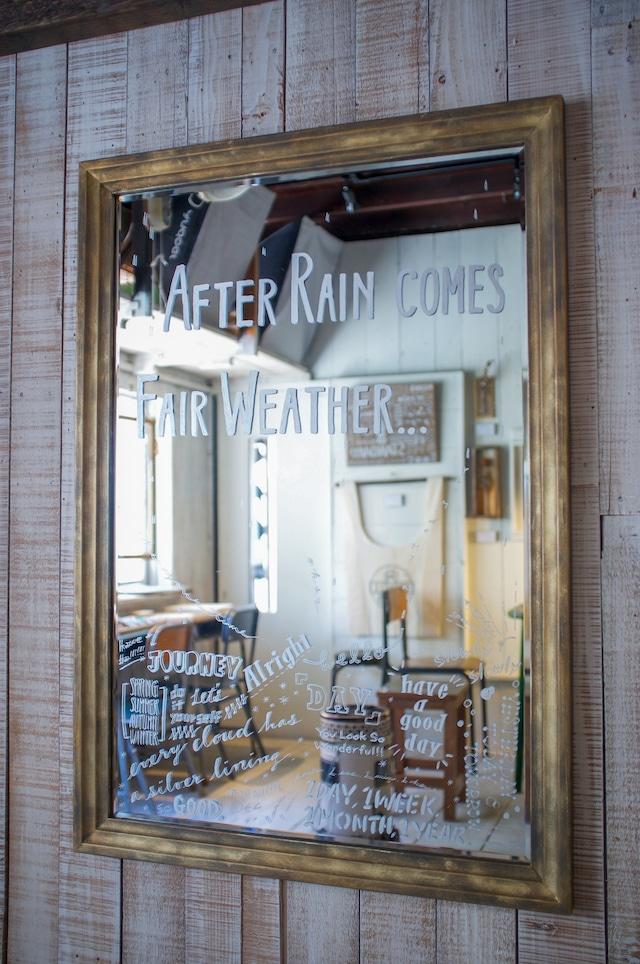 """【tomomi_typeコラボ】タイポグラフィミラー """"AFTER RAIN COMES FAIR WEATHER...(雨降って地固まる)"""""""