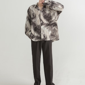 Ink style flower shirt   b-201
