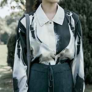 Black&white design print shirt(ブラック&ホワイトデザインプリントシャツ)a-940