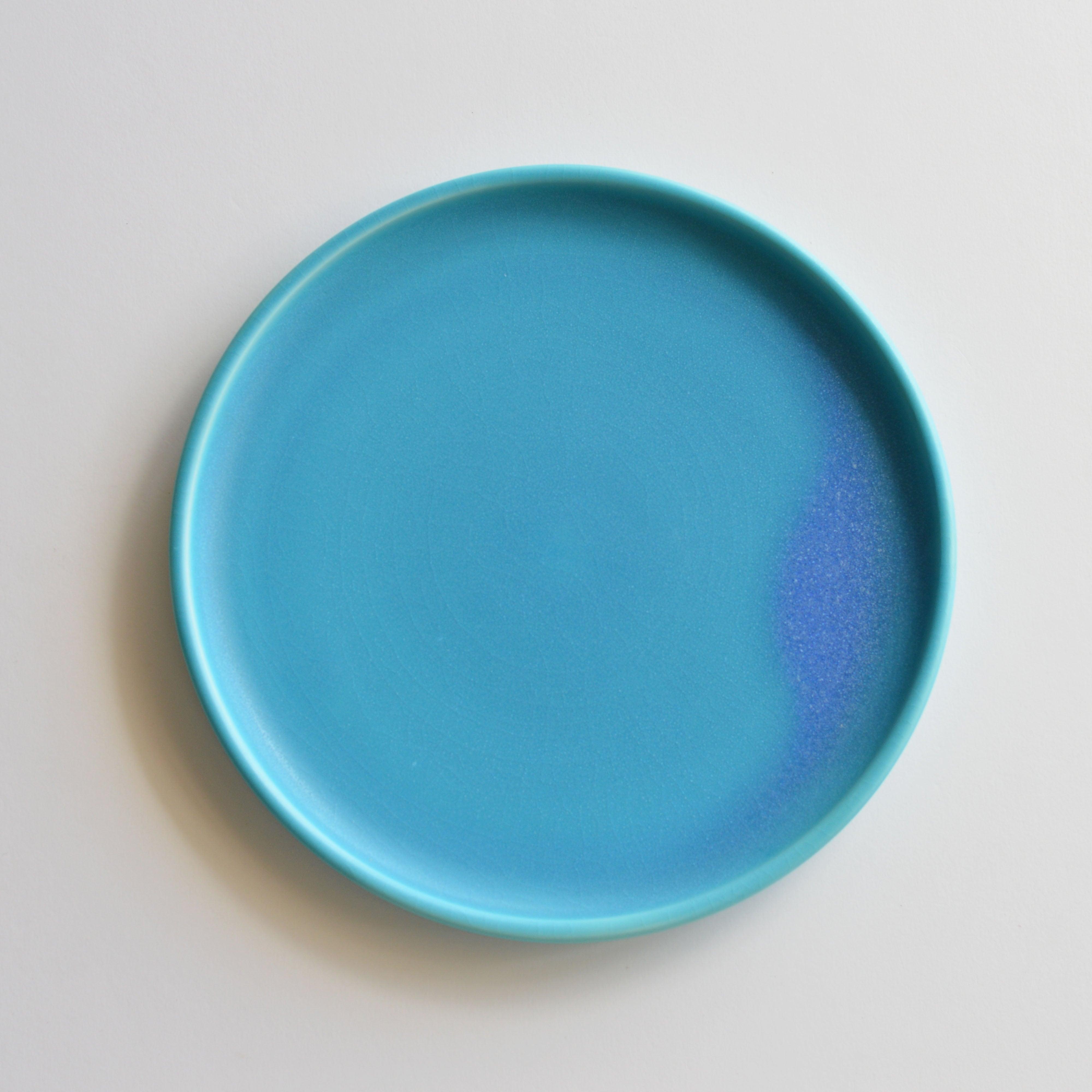 トルコ青  8寸皿 琉球工藝