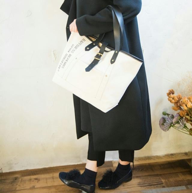 キナリ帆布×レザーハンドル(黒) トートバック Mサイズ