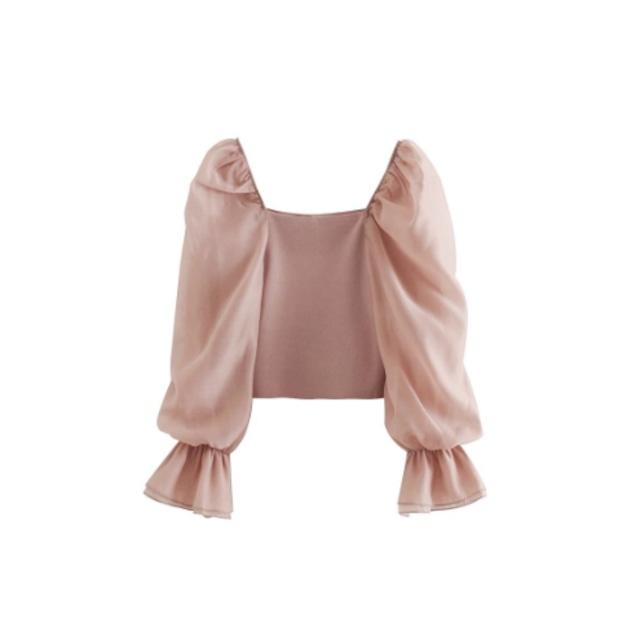 シフォンパフスリーブブラウス(Pink)