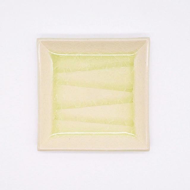【限定1点 アウトレット品】瀬戸焼 風紋3.5角プレート 253035 豆豆市071