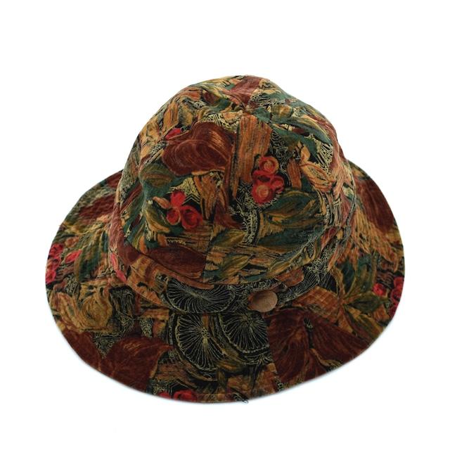 Vegetation fullpattern velour cloche hat