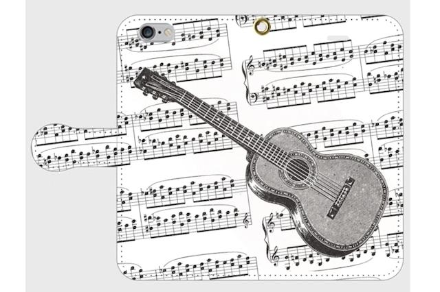 (iPhone用)ギターの手帳型スマホケース(楽譜)