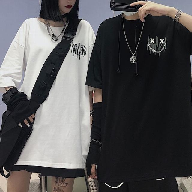 ユニセックス Tシャツ 半袖 ドロップショルダー ワンポイントプリント シンプル ラウンドネック オーバーサイズ 韓国ファッション メンズ レディース トップス 大きめ ストリートファッション TBN-620416043566
