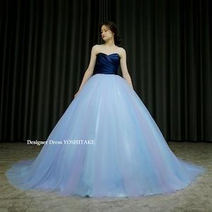 ネイビーサテンにアクアブルーのチュールのプリンセスラインカラードレス(パニエ付) 在庫店舗・・・アトリエ●