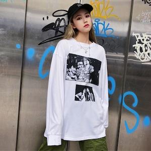 【トップス】長袖ストリート系ラウンドネックプルオーバーTシャツ43205579